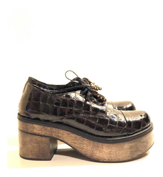 Mocasines Zapatos Paruolo Cuero Charol Croco. Talle 37