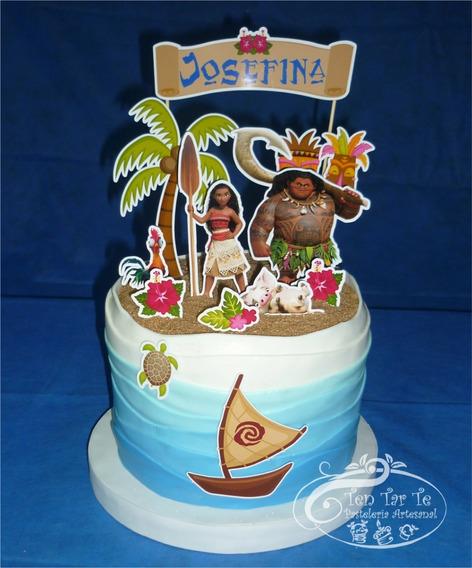 Cake Topper- Adorno Para Tortas-cartel+personajes Moana