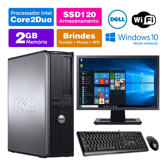 Computador Usado Dell Optiplex Int C2duo 2gb Ddr3 Ssd120 19w