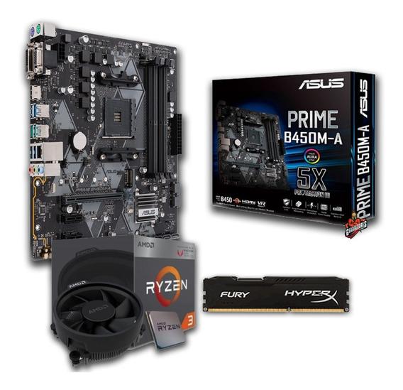 Kit Amd Ryzen 3 2200g + Asus Prime B450m-a+ 16gb Ddr4 2400