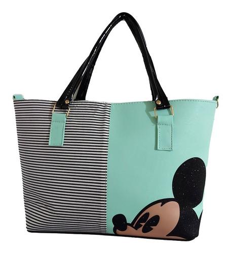 Imagen 1 de 6 de Bolsa De Mano De Disney, Mickey Mouse En Color Verde Agua