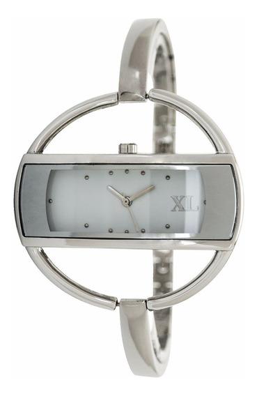 Reloj Xl Extra Large Moda Metal Dama Xl115 Plateado