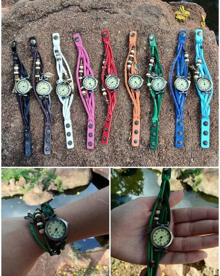 Relógio Vintage Hippie + Bateria Extra - Ajusta