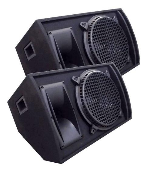 Kit 2 Caixa Som Retorno Top Palco Passiva 540w Rms Plug P10
