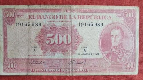 Imagen 1 de 2 de Billete Colombiano De 500 Pesos Falso De La Época