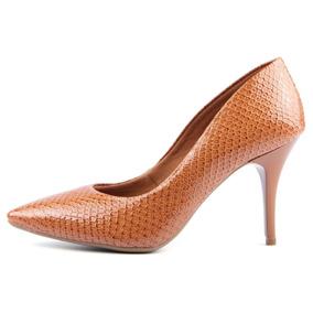 Sapato Feminino Scarpin Salto Medio Bico Fino Verniz Piton