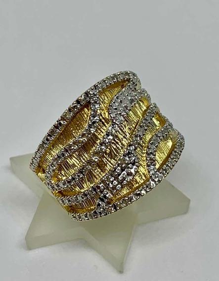 Glitter Joias - Anel Com Fios De Ouro 18k E 120 De Diamantes