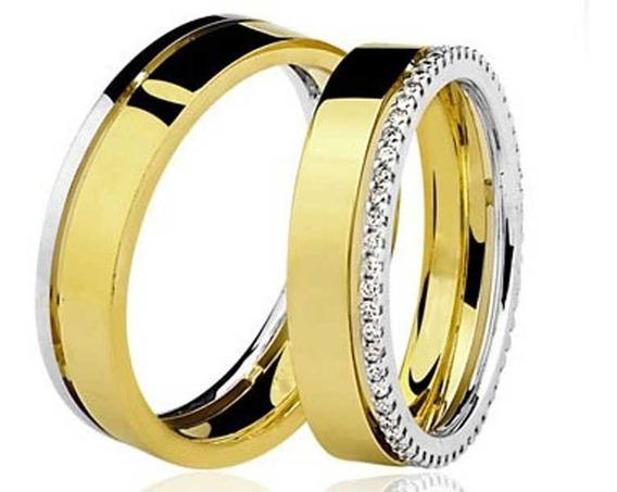 Par De Aliança 13,8g 5,1mm Com Diamantes