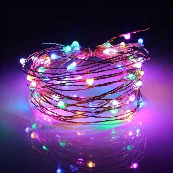 Fio Fada Prata Cobre Colorido Luz Natal 5m 50leds Pilha 10un