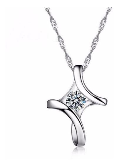 Collar Y Dije Cruz De Plata .925 Zirconia Dama Mujer Joyería