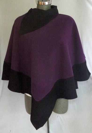 Capa Poncho Lana Bitono Velvet Purple / Negro Ébano