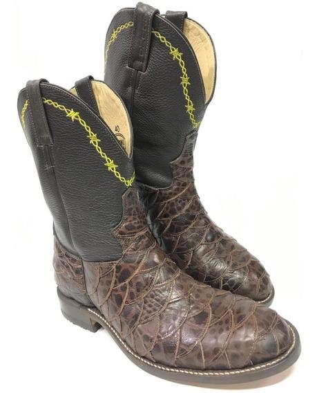 Bota Texana Country Masculina Jácomo Escamada Choco Brown
