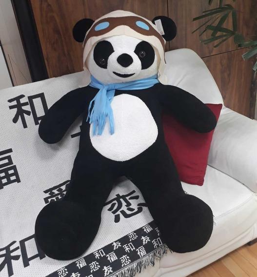 Urso Panda Aviador Grande Pelúcia Gigante 1,2 Mts 120cm