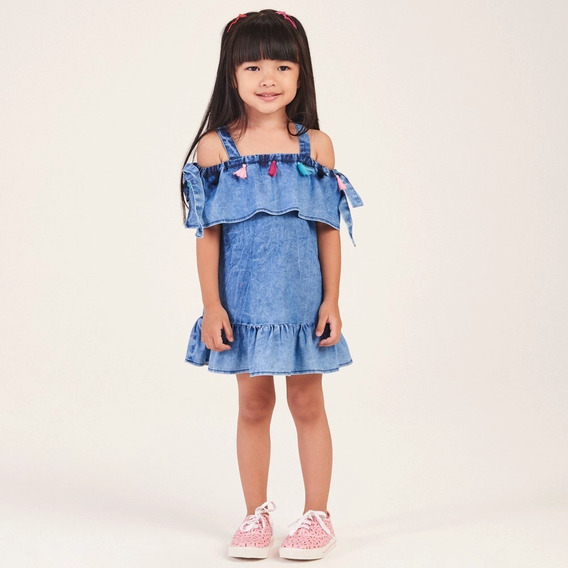 Mon Sucré Vestido Infantil Jeans Pompom 2 Ao 12 Verão 2020