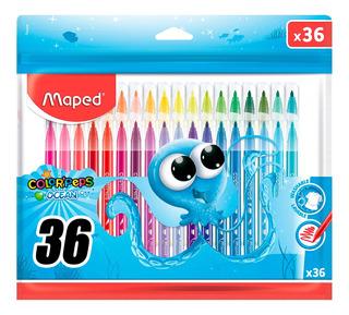Paquete C 36 Plumones Marcadores De Colores Lavable Plumines