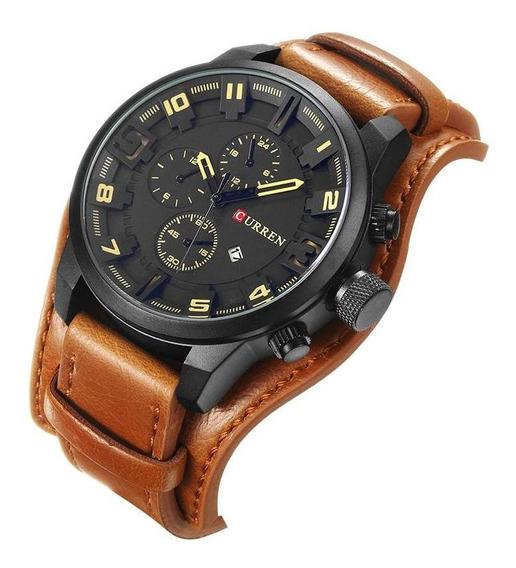 Relógio Masculino Original Curren 8225 Bracelete Couro Fundo