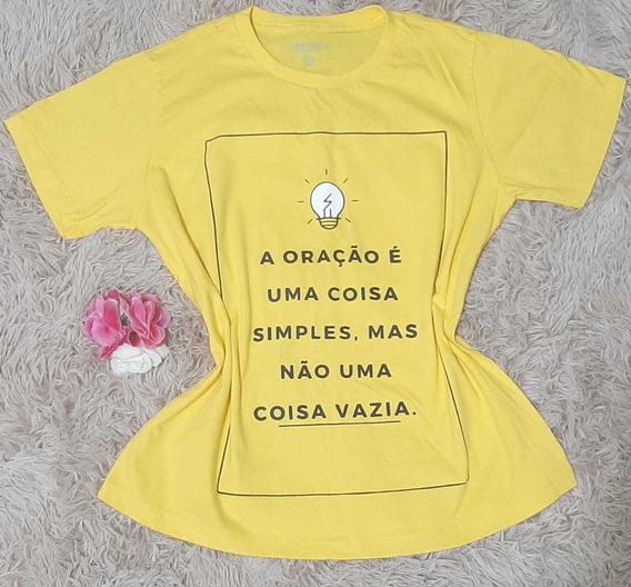 Camisa Camiseta Meia Manga Cristã Oração Baby Look Amarela