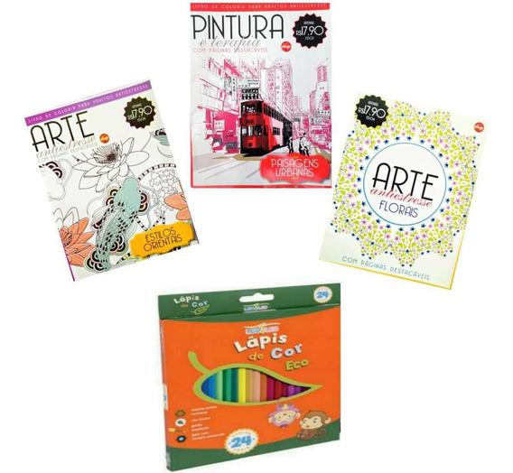 3 Livros De Colorir Anti Estresse Adulto/ Cx Lápis 24 Cores