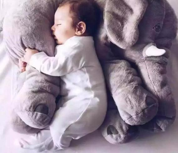 Elefante Cinza Gigante 65cm Pelúcia Naninha Travesseiro Bebê