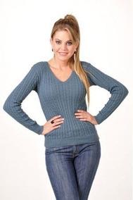 Blusa De Frio Tricot Feminina Sueter Decote V Trança Linha