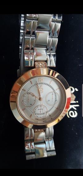 Reloj Esika Plateado Con Dorado