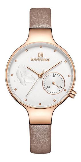 Relógio Feminino Naviforce 5001 Fashion Couro Lançamento