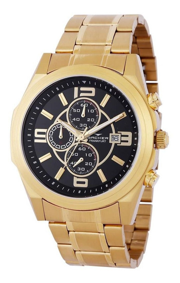 Relógio Backer Masculino Ref: 11002675m Cronógrafo Dourado