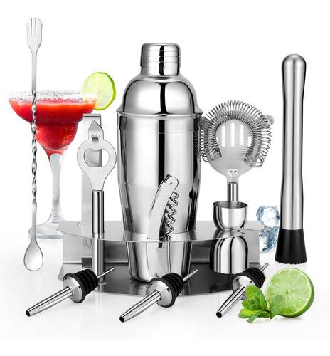 Imagen 1 de 7 de Kit Cocteleria Para Bartender 12 Piezas Acero Inoxidable