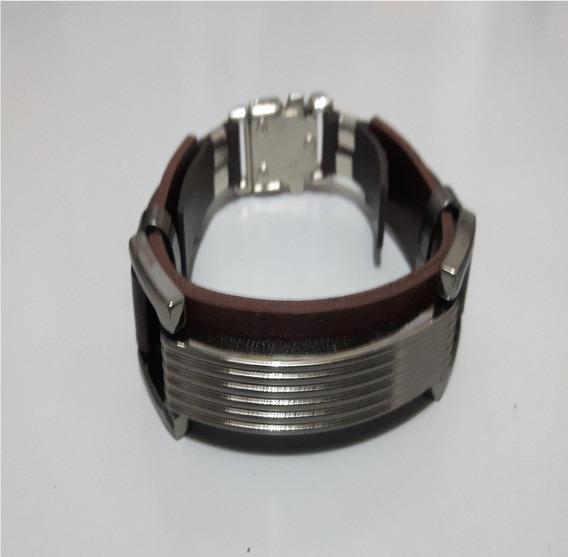 Pulseira Bracelete Ajustável Luxo Masculina Couro Ecológico