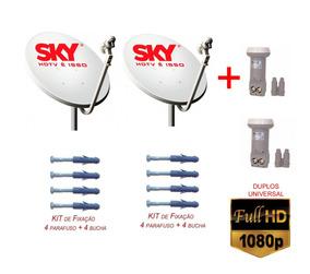 Kit 2 Antena Ku 2 Duplos 40 Mts De Cabo Conectores E Fixador