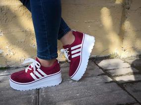 Sneakers Rojas Plataforma Alta