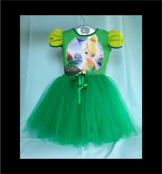 Vestido Infantil Sininho Fantasia Sininho Verde Bailarina