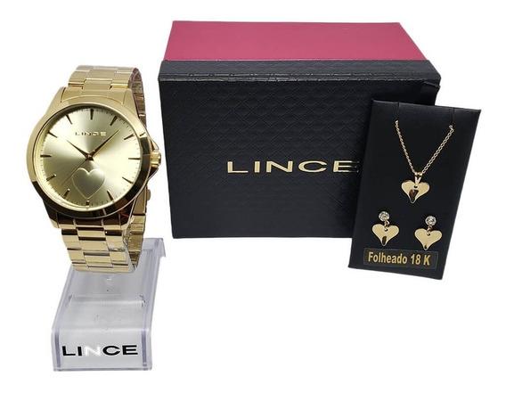 Kit Lince Cordão Brinco E Relógio Lrgj097l Kw15 Dourado