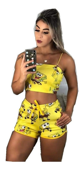 Kit Com 2 Conjuntos Batedeira Short E Cropped Personagens