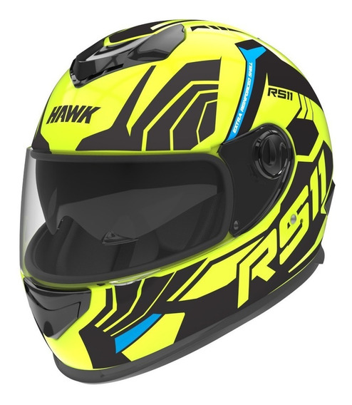 Casco Integral Moto Hawk Rs11 Revo Fluo Yuhmak