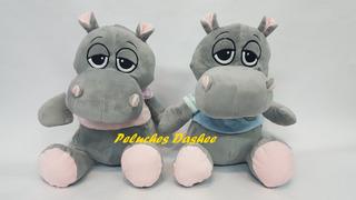 Hipopótamo De Peluche Con Remerita Extrasuave