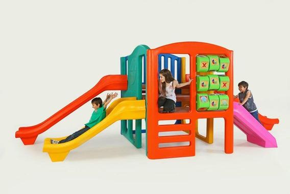 Centro Juegos Con 3 Toboganes Puente Tubo Trepador Rotoys