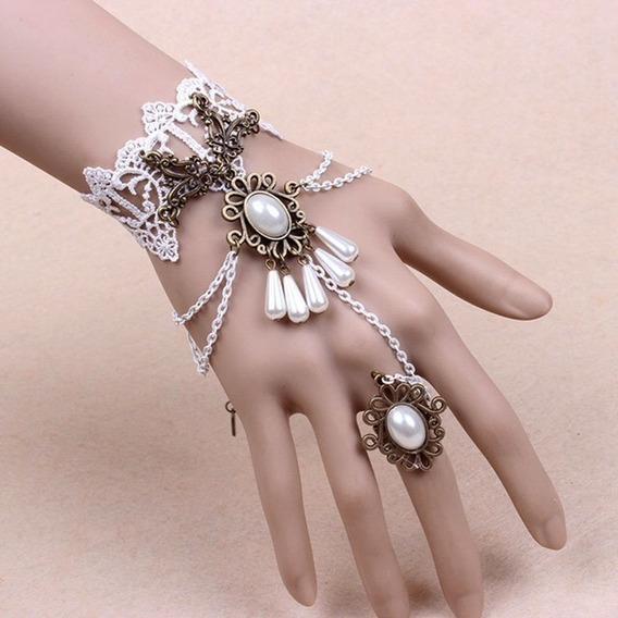 Pulseira De Mão Renda Branca Anel Perolas Gotico Vintage