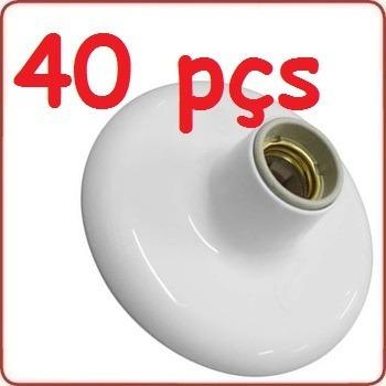 40 Peças Plafon Sobrepor Redondo Branco Bocal De Porcelana