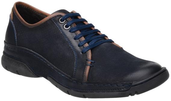 Sapatênis Malbork Em Couro Azul Marinho Comfort 6975