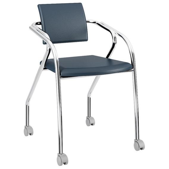 Cadeira Para Escritório 1713 Carraro - Azul Noturno Cromado