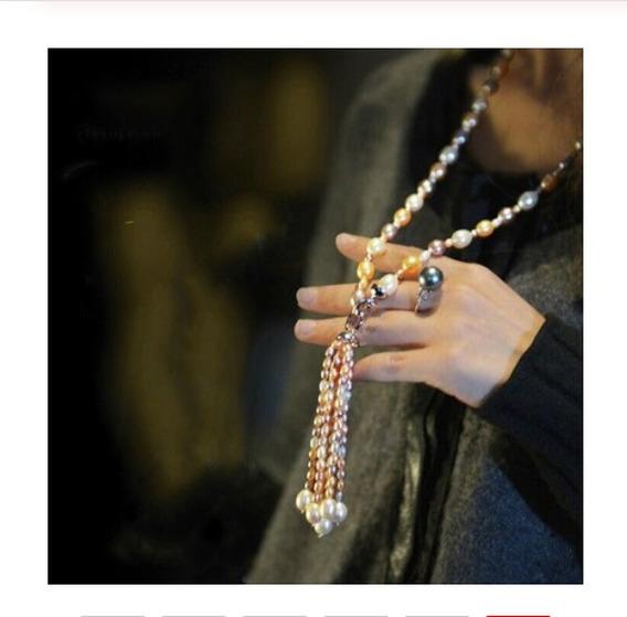 Collar De Perlas Naturales Cultivadas Largo 90cm Liquidacion