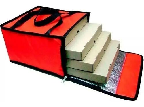 Bolso Termico Delivery Pizzas 4 Cajas X3 Unidades M Coyote