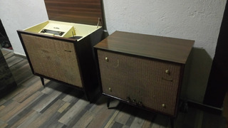 Consola Antigua Bulbos Clear Master Tornamesa Y Amplificador