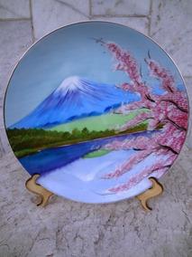 Prato Medalhão Japones Pintado A Mão