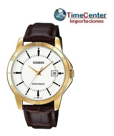 Reloj Casio Quarz, Hombre, Correas De Cuero, Mtp-v004,