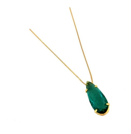 Corrente Feminina E Pingente Gota Pedra Verde Banhado A Ouro
