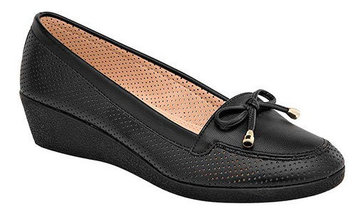 Zapato Piso Mujer Padus Negro Sint Cuña Moño 4cm D38809 Udt