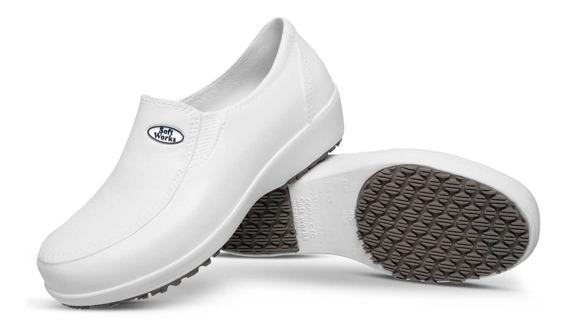 Sapato Feminino Hospitalar Antiderrapante Branco Cozinha
