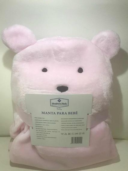 Cobertor De Bebê Rosa Com Capuz De Ursinho